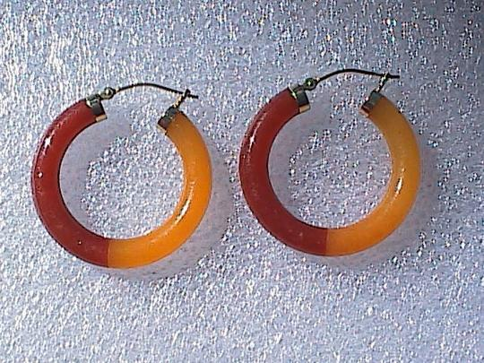 Other 14k Solid Yellow Gold Hoop Jade Earrings (#2)