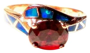Cherry Quartz and Blue Fire Opal 925 Sterling Silver 14k Ring