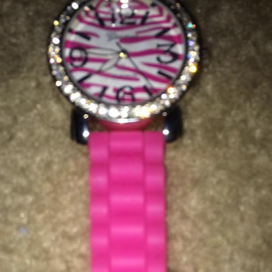 Geneva Hot Pink Rubber Crystal Watch