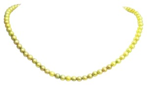 Green 4mm Freshwater Pearl 925 Sterling Silver Necklace