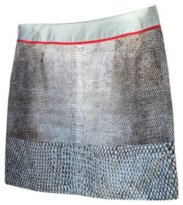 Kenneth Cole Side Zipper Pencil Mini Skirt Gray, White, Red