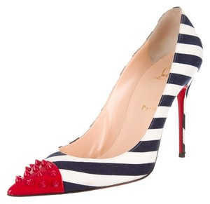 Christian Louboutin White Navy Blue Print Striped Pointed Toe Stiletto Red Cap Toe Studded Spike Geo 40 10 Sexy Red Sole Multicolor Pumps