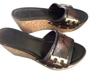 Tory Burch 6.5 Designer Brown Snakeskin pattern Wedges