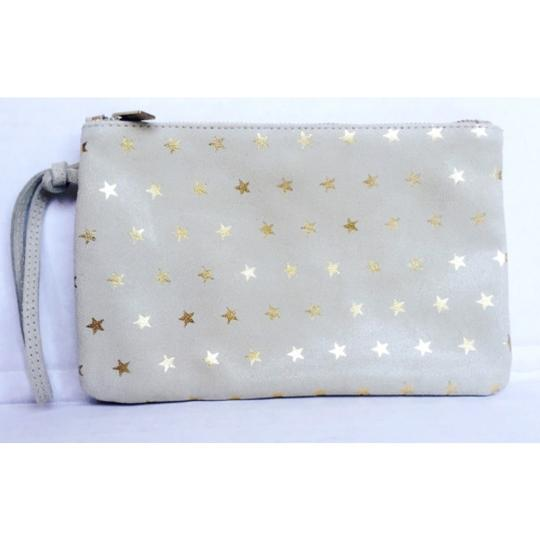Penelope Chivlers Penelope Chivlers Beige Star Suede Leather Cosmetics BagNEW