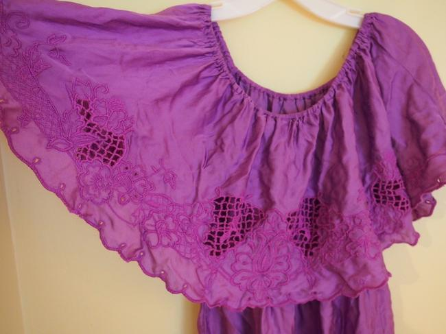 Free People short dress purple Off Shoulder Eyelet Sleeveless Sun Bohemian on Tradesy