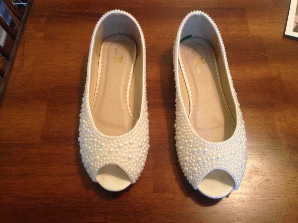 Open Pearl Ivory Toe Formal Flats OvZFn8qZ5