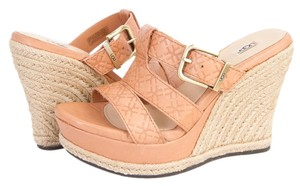 UGG Australia Wedge Leather Emboss Hedy Platform Beige Sandals