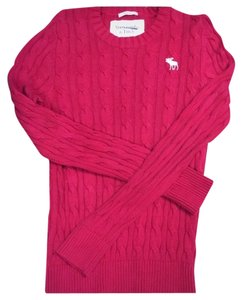 Abercrombie & Fitch & Men Red Cotton Cable L Sweater