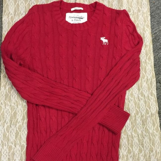 Abercrombie & Fitch Red Cotton Cable L Sweater