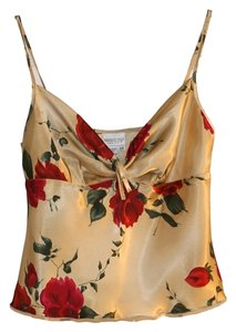 Newport News Women Camisole Roses Floral 6 Petite Petite Size 4-6 Small Medium Silky Top Gold Red