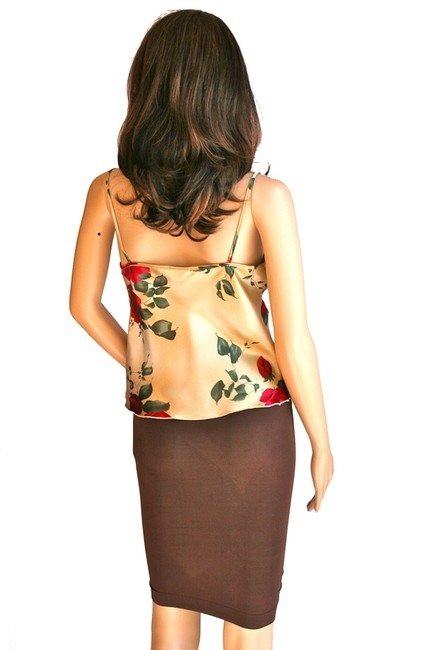 Newport News Women Sole Roses Floral 6 Petite Petite Size 4-6 Small Medium Silky Top Gold Red