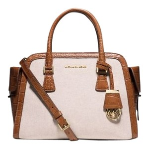 Michael Kors Next Day Shipping Satchel in Ecru / Dark Walnut