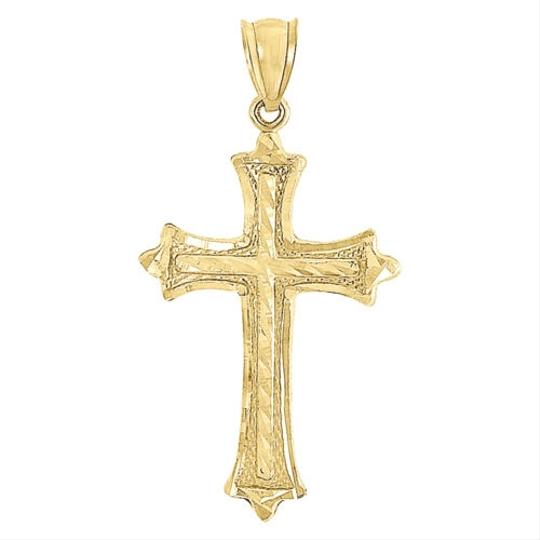 Jewelry For Less 10k Yellow Gold Diamond Cut Flat Cross Charm Pendant 2mm Hollow Rope Chain 22