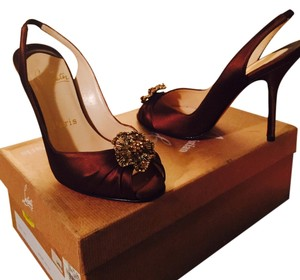 Christian Louboutin brown satin Pumps
