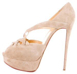 Christian Louboutin Tan Nude Suede Leather Beige Pumps