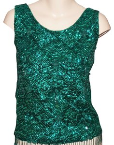 Voguemont Vintage Beaded Wool Tank Vintage Beaded Sleeveless Sweater Vintage Beaded Wool Tank Vintage Beaded Tunic Vintage Beaded Top Green