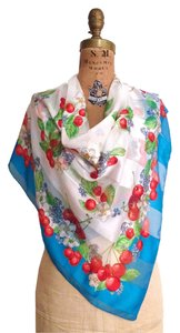 Other Vtg. Paneled Silk Chiffon Turquoise Scarf - Cherries & Floral Print - 35