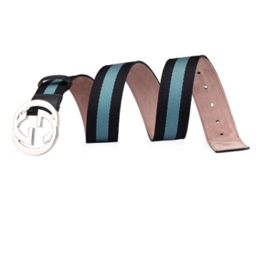 Gucci Black and Turquoise Web Interlocking G Belt