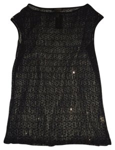 The Limited Sheer Sequin Party Top Black