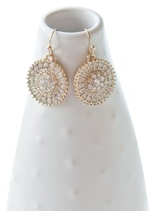 Jennifer Miller Jewelry Gold Pave Circle Drop Earrings