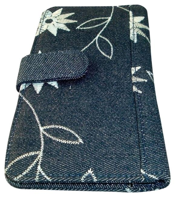 Item - Clutch Ladies Denim Checkbook Cover / Snap Close Blues New. Wallet