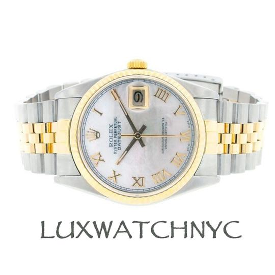 Rolex MEN'S ROLEX DATEJUST 2-TONE WITH WHITE MOTHER OF PEARL DIAL