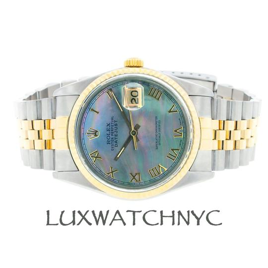 Rolex 36MM MEN'S ROLEX DATEJUST 2-TONE WITH BLUE MOTHER OF PEARL DIAL