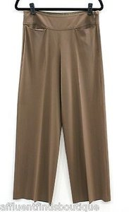Donna Karan Collection Thin Stretch Wool Wide Leg Side Zip Pants