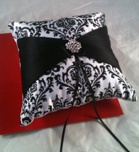 White & Black Demask with Rhinestone Accent Ring Bearer Pillow