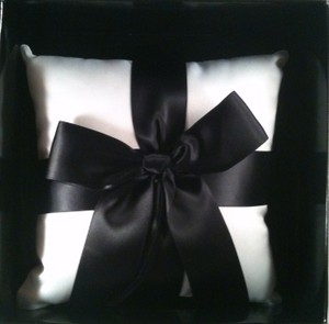 White with Black Bow Ring Bearer Pillow