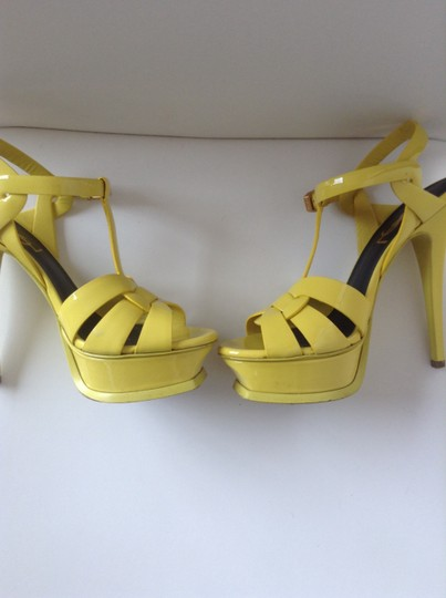 Saint Laurent Ysl Tribute Ysl Tribute Yves Party Chic Sandal High Heel Leather Yellow Platforms
