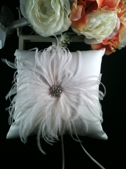 White with White Feather and Rinestone Accent Ring Pillow