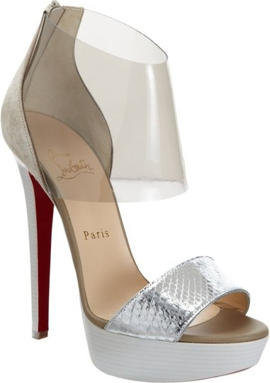 Christian Louboutin Platform Pvc Suede Silver Boots