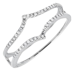 14k White Gold Chevron Diamond Ring Guard Jacket Enhancer Wedding Band 0.20ct..