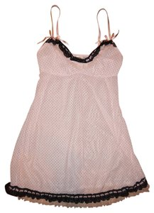 Felina Nightgown Sexy Lace Trim Top Pale Pink, Black
