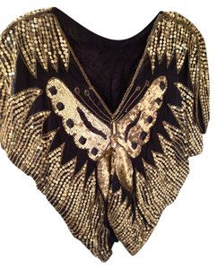 Bat Wing Top Black with Gold and Black sequins