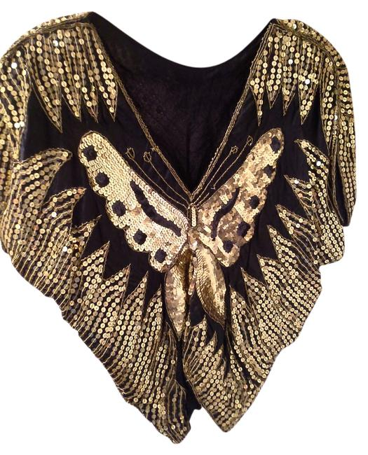 Other Bat Wing Silky Fabric Vintage Top Black with Gold and Black sequins