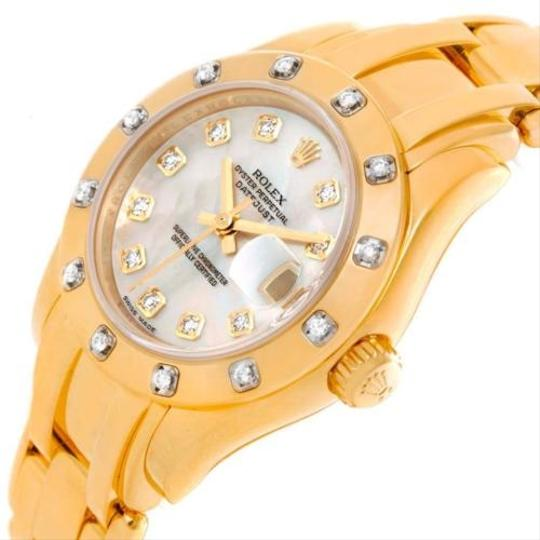 Rolex Rolex Pearlmaster Yellow Gold Mother Of Pearl Diamond Watch 69318