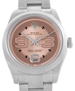 Rolex Rolex Oyster Perpetual Midsize Steel Pink Dial Watch 177200