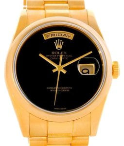 Rolex Rolex President Day Date Mens 18k Yellow Gold Black Onyx Watch 118208