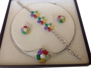 Multi Colored Genuine Gemstones Set of Necklace, Earrings and Bracelet