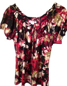 Claudia Richars Peasant Top Black, Red, White,Tan
