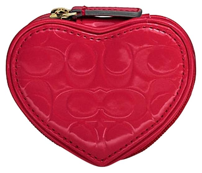Item - Red Patent Embossed Liquid Gloss Heart Pouch Case F65385