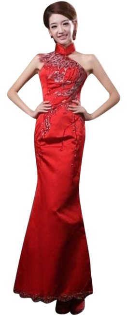 Other Asian Prom Mermaid Satin Embroidered Embellished Dress