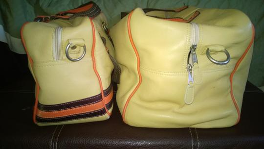 Latico Leathers Beige with orange and brown stripes Travel Bag