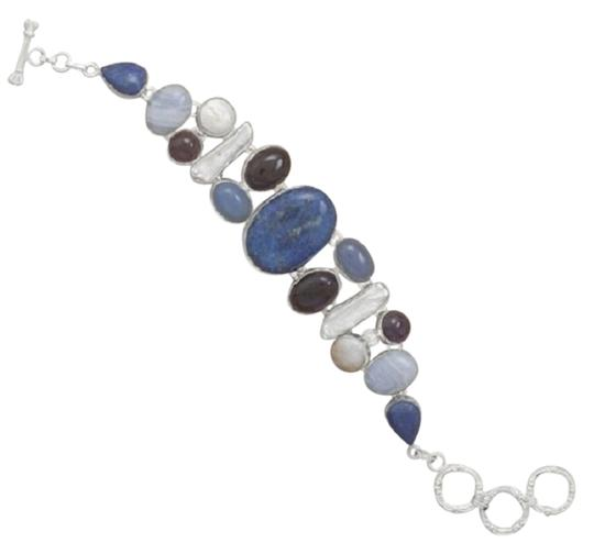 """Sterling Collections 8"""" + 1"""" Toggle Bracelet With Lapis, Agate, Amethyst, Chalcedony And Fresh Water Pearl"""