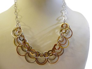 .925 Sterling Silver Two-tone Circle Necklace 19 Inch QVC