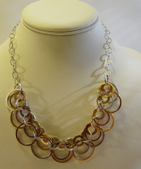 Other .925 Sterling Silver Two-tone Circle Necklace 19 Inch QVC