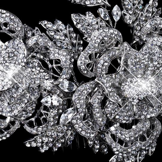 Elegance By Carbonneau Exquisite Rhodium Silver Plated Bridal Hair Comb