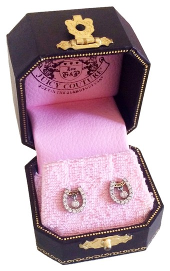 Juicy Couture Juicy Couture Horseshoe Pave Stud Earrings with Dangle Rhinestone YJRU0714